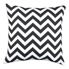 "Chevron cotton pillow.  Product: PillowConstruction Material: 100% Cotton cover and 100% hypo-allergenic polyester fillColor: Black and white Features:  Zippered closureInsert included Dimensions: 17"" x 17""Cleaning and Care: Spot clean"
