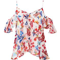 Tanya Taylor Multi Floral Cold Shoulder Top (2,565 GTQ) ❤ liked on Polyvore featuring tops, open shoulder tops, pink top, flower print tops, cut shoulder tops and cold shoulder tops