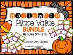 5 math center place value bundle for Halloween *60 total task cards* 12 rounding task card problems 12 problems on standard form, expanded form, and word form 12 comparing number task cards 12 Finding the value of the underlined digit task cards 12 order numbers task cards *Answer key includ...