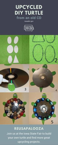 Tips For Just A Second Wedding Ceremony Anniversary Reward Salvage A Scratched Cd And Have The Kiddos Make This Fun Turtle Craft Iowa Dnr Upcycled Crafts, Cd Crafts, Crafts For Teens, Arts And Crafts, Turtle Classroom, Turtle Crafts, Stained Glass Birds, Vinyl Banners, School Projects