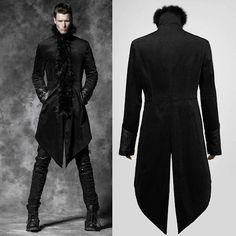 Designer Black Goth Fashion Long Overcoat Trench Coat Clothing Men SKU-11401484