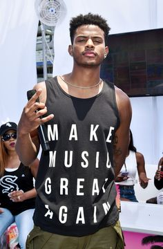 Recording artist Trevor Jackson poses at day one of the Pool Groove, sponsored by McDonald's, during the 2017 BET Experience at Gilbert Lindsey Plaza on June 2017 in Los Angeles, California. Handsome Black Guys, Cute Black Guys, Gorgeous Black Men, Black Boys, Beautiful Men, Zendaya And Trevor Jackson, Diggy Simmons, Man Crush Everyday, Charming Man