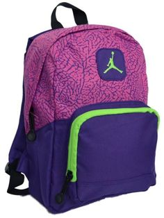 e095fa0995a6 Nike Air Jordan Backpack Pink Purple Green Toddler Preschool Girl Small  Mini Bag