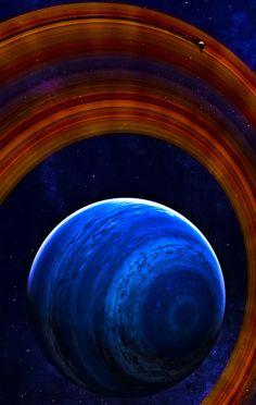 "♥ Space art, rings, gas giant, planet, Saturn-like, cosmos, digital art, edit, ""Aquamarin"""