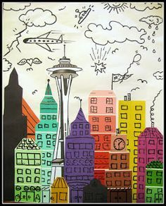 James Rizzi skyline with paint chip strips