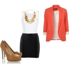 Appropriate for work and work gatherings. Not appropriate for an interview because the coral blazer does not match the black skirt.