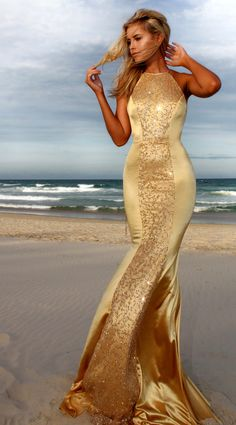 #blueandgoldpromspirit Gold Desire prom/ formal dress by STUDIO MINC