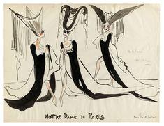 Redécouvrir les croquis des costumes de Notre-Dame de Paris signés Saint Laurent