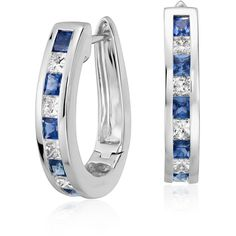 Blue Nile Sapphire and Diamond Hoop Earrings ($2,425) ❤ liked on Polyvore featuring jewelry, earrings, 14k earrings, sapphire jewelry, 14 karat gold earrings, blue nile earrings and sapphire earrings