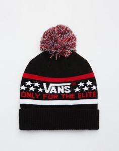Beanie by Vans Stretch knit Branded design Pom pom Ribbed, turn-up cuff Hand wash 95% Acrylic, 4% Nylon, 1% Elastane