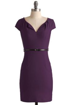 I've really been into sheath/contour dresses lately - and this color! It's to die for. -- And We're Live Dress in Plum, #ModCloth