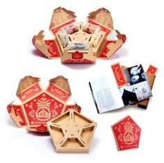 multi-purpose box that is also a traditional Chinese paper cutting, so it can be used as decoration during Chinese New Year to bring fortune and luck. And each of the five sides can be used as bookmarks! Smart Packaging, Tea Packaging, Food Packaging Design, Packaging Design Inspiration, Brand Packaging, Packaging Ideas, Biscuits Packaging, Cardboard Design, Chinese Design