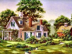 Summer Haven ~ Fred Swan (reminds me of mr Blandings Builds his Dream Home! Swan Painting, House Painting, Polymer Clay Painting, Beautiful Homes, Beautiful Places, Storybook Cottage, Country Scenes, Pink Houses, Country Art