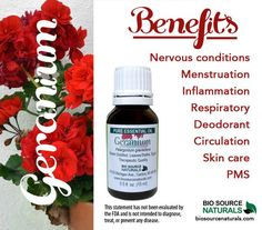 Geranium (Pelargonium graveolens) Pure Essential Oil - Aromatherapy - Therapeutic Quality 1 fl oz (30 ml) Description: Sweet and floral, the scent of geranium essential oil calms and relaxes. Known fo