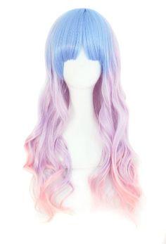 MapofBeauty schöne lange wellige Harajuku Stil Cosplay Perücke (hellblau/ helllila/ rosa)