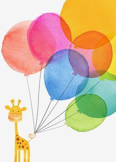 Margaret Berg Art: Baby Giraffe with Balloons
