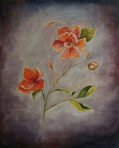 obraz olejny, kwiaty, zamglone tło