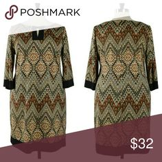 Aztec Print Dress (PLUS) Brown, tan & black shift dress, round neckline with keyhole feature, 3/4 bell sleeves, black trim at keyhole, sleeve & hem. Perfect fall piece for work or church. Pair with tights & Boots for a casual night out.  Material: polyester and spandex Sizes Available: 14W to 24W Measurements:  PLEASE SEE CHART ABOVE Dresses