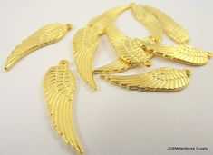 Gold Plated Wing Charms by JSWMetalWorksSupply