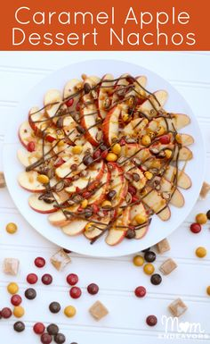 Delicious fall treat recipes - caramel apple nachos and apple cider dip!! #apples #Recipes #fall #shop #Harvestfun