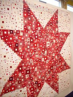 """""""Composition II"""" by Shoko Sakai, Japan - Gold Prize Winner Traditional Quilts Category 10th Quilt Nihon - exhibited at 16th European Patchwork Meeting 2010 Val d'Argent Alsace ~ Redwork in Germany"""