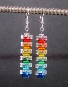 Lego earrings, rainbow and clear, stainless steel or silver plated ear wires. $12,00, via Etsy.