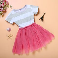 Europe and America Style Cotton Baby Girls Striped Dress New Summer Girls Clothes Big Girls Dresses With belt
