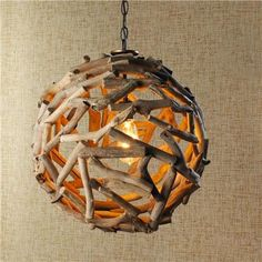 Driftwood Ball Pendant Light - Anyone going for the coastal look in their home? A driftwood pendant light will instantly add beach chic your. Driftwood Chandelier, Chandelier Ideas, Handmade Chandelier, Handmade Lamps, Diy Pendant Light, Pendant Lighting, Pendant Lamps, Ceiling Pendant, Nursery Lighting