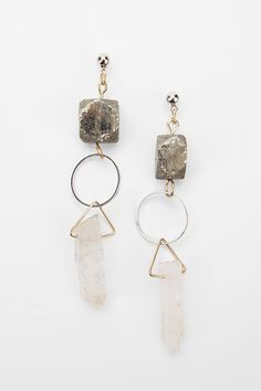 DLC Mixed Metal Hanging Crystal Earring - Urban Outfitters