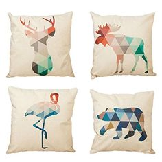4-Pack Cotton Linen Sofa Home Decor Design Throw Pillow Case Cushion Covers Square 17.5 Inch (Set of 4 Animal Deer Series)