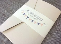SAMPLE ◦ BUNTING Pocketfold Wedding Invitation ◦ Shabby Chic ◦ Vintage Theme