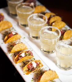 Pairing miniature passed appetizers with complimenting cocktails makes for a chic combination guests will love. Appetizers, Party Food Ideas, Finger Foods, Wedding Food food catering 12 Tiny Wedding Treats That Will Satisfy Big-Time - Wilkie