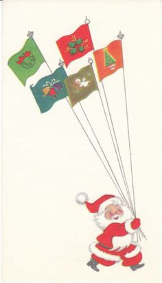 Unused Mid Century Christmas card - Santa Claus and holiday flags