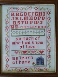 Vtg Completed Cross Stitch New England Sampler What We Know of Love 9x11 Frame #Unbranded