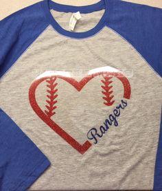Texas Rangers Baseball Heart Shirt by MelissaMKCREATIONS on Etsy https://www.etsy.com/listing/231010175/texas-rangers-baseball-heart-shirt