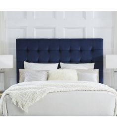 Discover recipes, home ideas, style inspiration and other ideas to try. Navy Headboard, Modern Headboard, Wingback Headboard, Headboard Designs, Panel Headboard, Pallet Headboards, Farmhouse Headboards, Fabric Headboards, Door Headboards