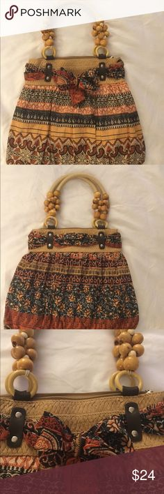 """Unique Purse with a Tropical Feel - this purse is so unique, and has many different materials and textures. - it has wooden beads with a woven strap 8"""" drop - body of purse is straw wrapped material with bow at top and the remainder is a fun mix of patterned material  - top measures 12"""" width and gradually increases to 16.5"""" and 12.5"""" length Bags Shoulder Bags"""