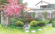 Romantisch gestalteter Sitzbereich im Garten mit einer Mauer im Ruinenstil - ландшафтный дизайн - Modern Landscaping, Front Yard Landscaping, Landscaping Ideas, Amazing Gardens, Beautiful Gardens, Landscape Design, Garden Design, Front Yard Design, Garden Illustration