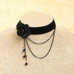 Elegant Faux Crystal and Tassel Design Velvet Flower Shape Necklace For Women - BLACK Lace Jewelry, Cheap Jewelry, Gothic Jewelry, Jewelry Crafts, Jewelery, Handmade Jewelry, Cheap Necklaces, Jewelry Shop, Diamond Jewelry