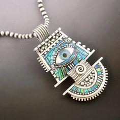 Eyecon - Fine silver, sterling, polymer clay, polymer eye with resin
