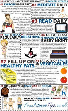 10 Healthy Habits That Improve Your Mental Fitness  http://www.pinterest.com/freefitnesstips/