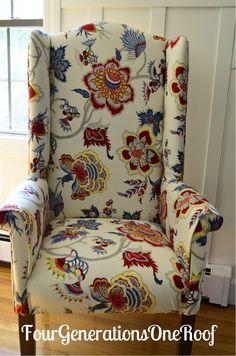 DIY reupholstered dining room wingback chair, via fourgenerationsoneroof.com