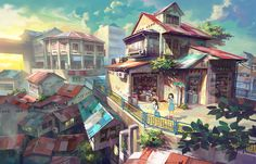 [Shop]  Chong Fei Giap illustrations art. Background as culture's Penang in Malaysia.