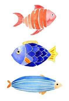 Watercolor Fish by The JanuaryJane Watercolor Fish, Watercolor Trees, Watercolor Animals, Watercolor Cards, Watercolor Illustration, Watercolour Painting, Painting & Drawing, Simple Watercolor, Tattoo Watercolor
