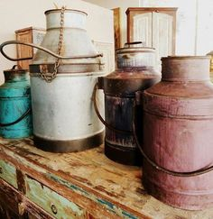 Milk cans from India. http://homedesignstoreflorida.com/