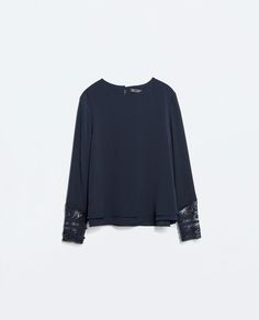 TOP WITH EMBROIDERED CUFF-View all-Tops-WOMAN   ZARA Israel