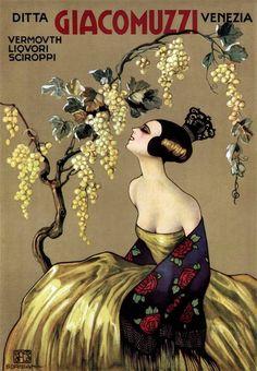 Vintage advertising poster. Vermouth Giacomuzzi, Italy, ca 1900
