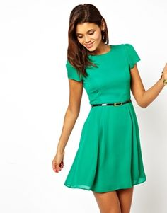 Image 1 of ASOS Skater Dress With Short Sleeves And Belt Green & Blues $64.82NOW $32.41