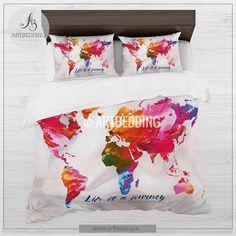 Custom bedding duvet cover watercolors on black world map tw qu boho chic duvet set world map abstract splashes bedding world map art duvet cover gumiabroncs Images