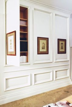 Built In Cabinets And Storage Design - good for family room or linen closet Hidden Rooms, Hidden Closet, Narrow Closet, Hidden Storage, Wall Storage, Secret Storage, Hidden Shelf, Hidden Safe, Bookshelf Storage